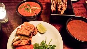 Tikka paneer, chicken ruby and cheese naan