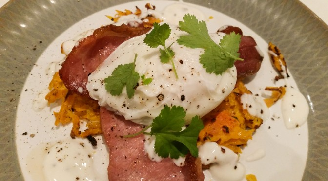 Lazy brunch: butternut rostis with bacon and poached eggs